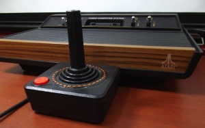 Our first video game console. I remember the wood effect.