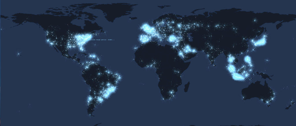 Tweetping Map Lunchtime UK